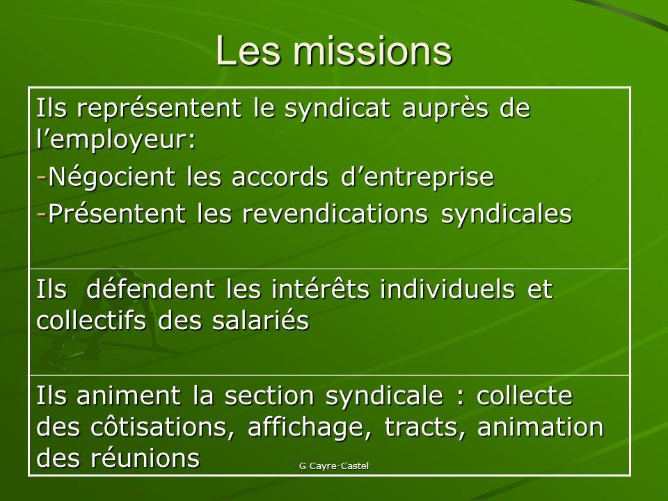 Les missions Ils représentent le syndicat auprès de l'employeur: