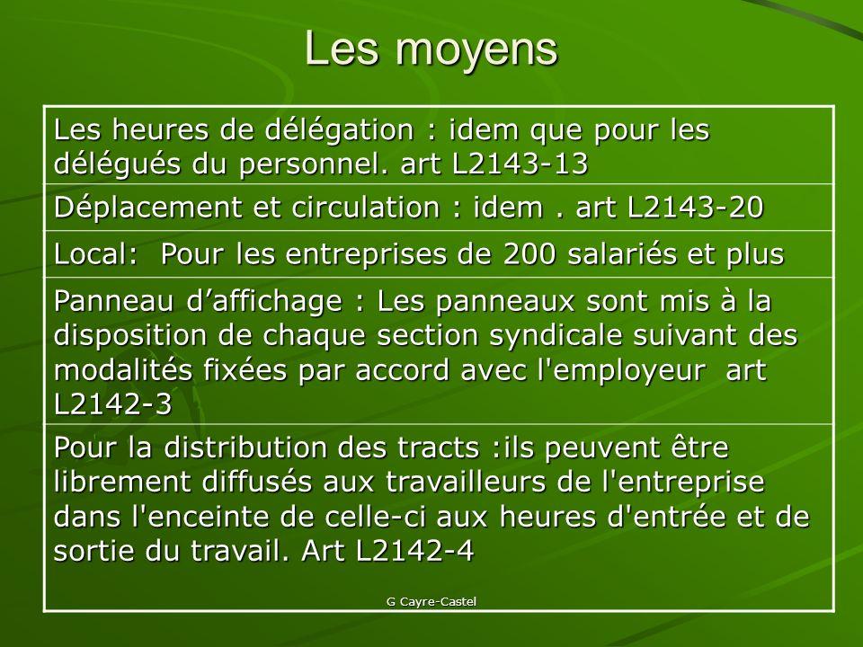 Les moyens Les heures de délégation : idem que pour les délégués du personnel. art L2143-13. Déplacement et circulation : idem . art L2143-20.