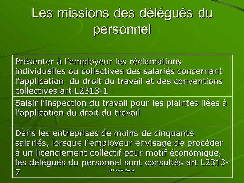 Les missions des délégués du personnel