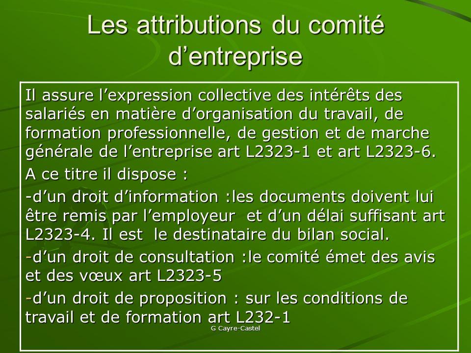 Les attributions du comité d'entreprise