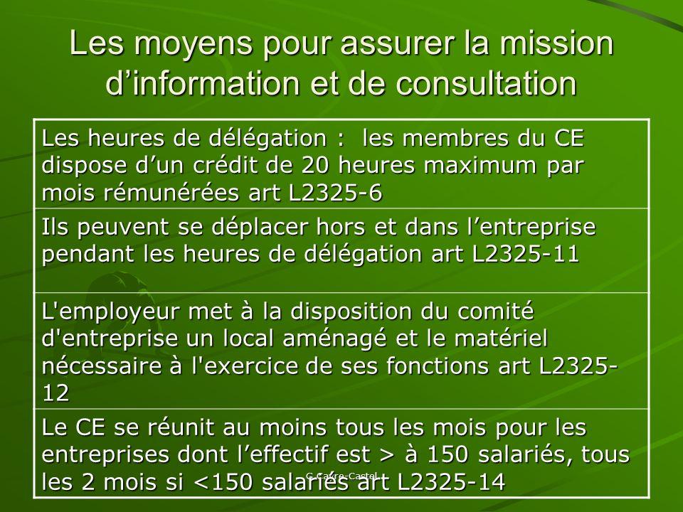 Les moyens pour assurer la mission d'information et de consultation