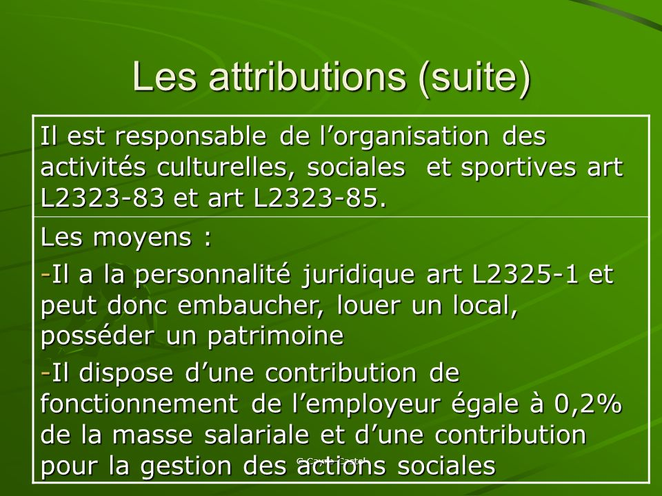 Les attributions (suite)