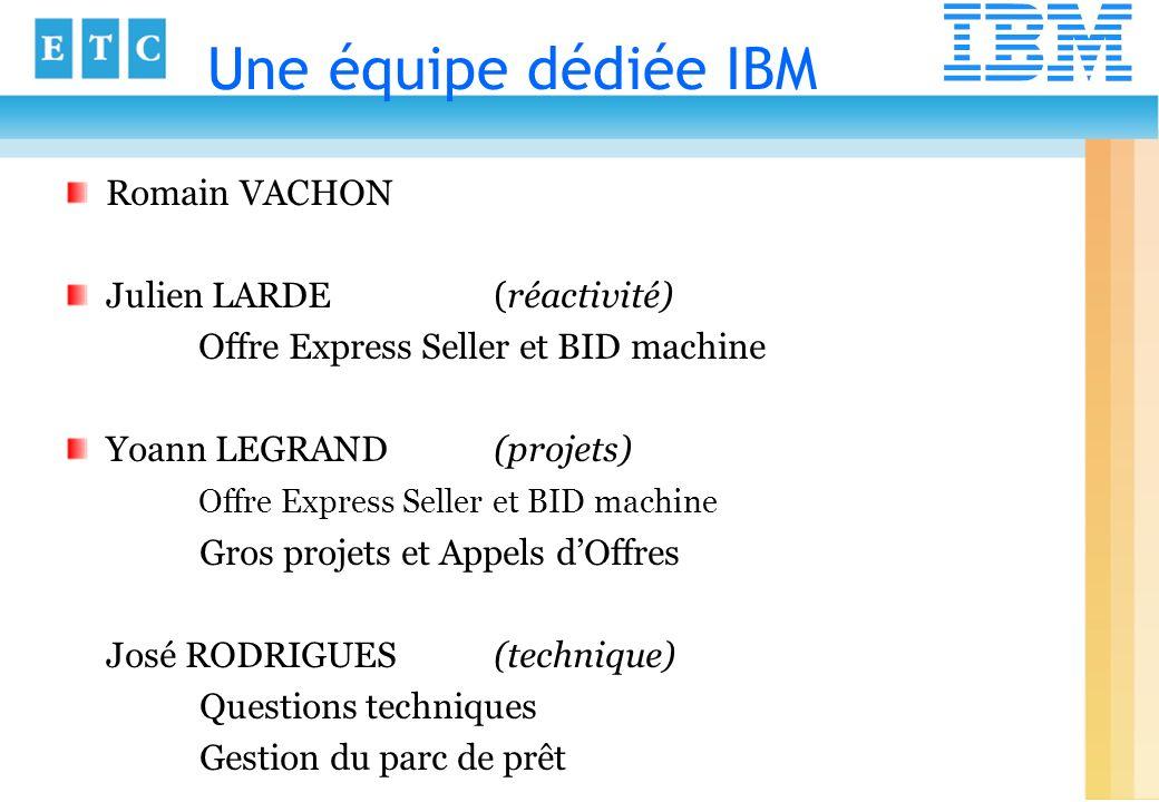 Une équipe dédiée IBM Romain VACHON Julien LARDE (réactivité)