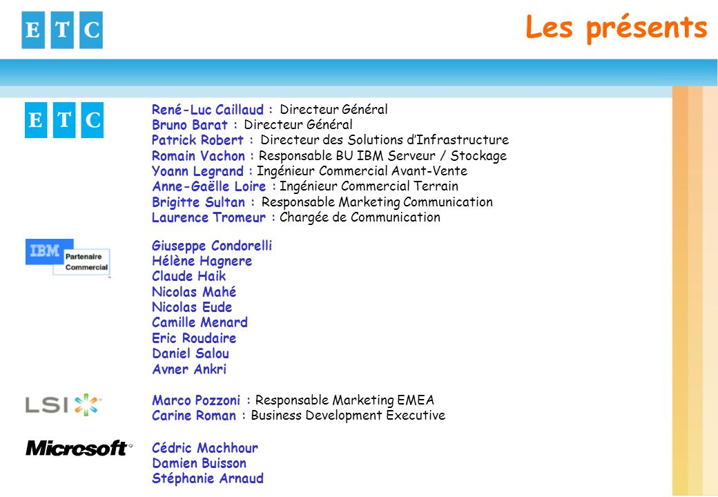 Les présents René-Luc Caillaud : Directeur Général