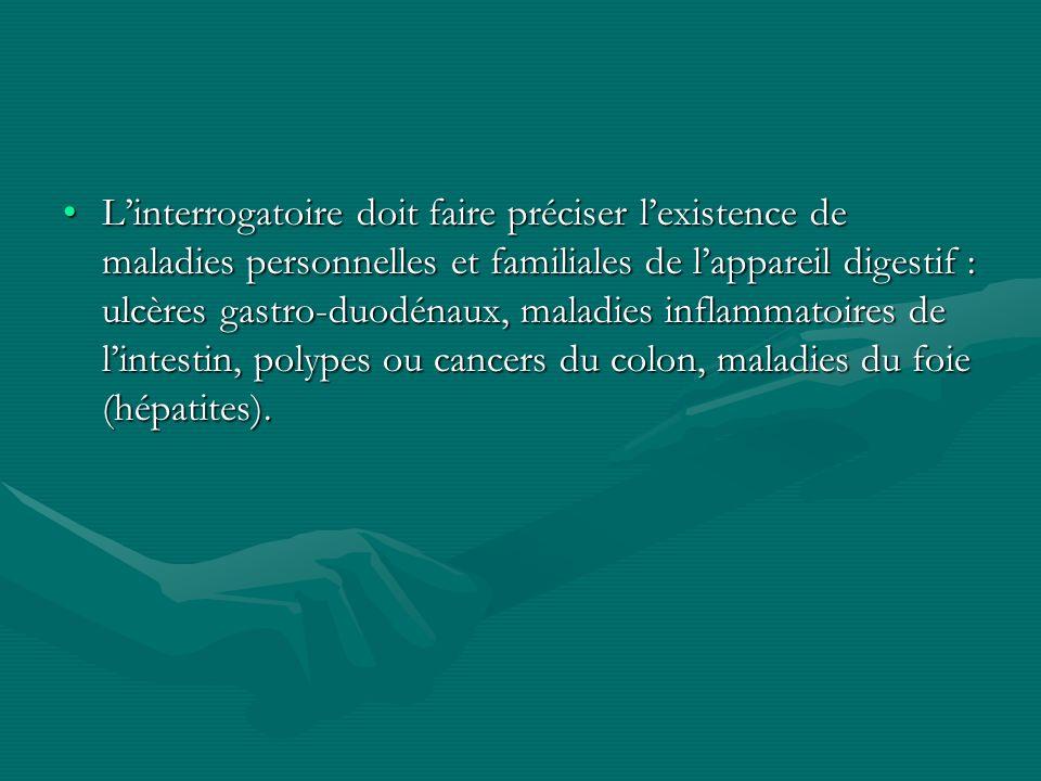 L'interrogatoire doit faire préciser l'existence de maladies personnelles et familiales de l'appareil digestif : ulcères gastro-duodénaux, maladies inflammatoires de l'intestin, polypes ou cancers du colon, maladies du foie (hépatites).