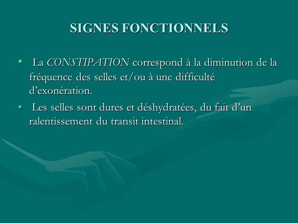 SIGNES FONCTIONNELS La CONSTIPATION correspond à la diminution de la fréquence des selles et/ou à une difficulté d'exonération.