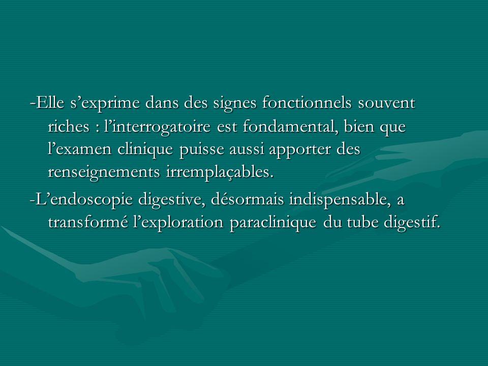 -Elle s'exprime dans des signes fonctionnels souvent riches : l'interrogatoire est fondamental, bien que l'examen clinique puisse aussi apporter des renseignements irremplaçables.