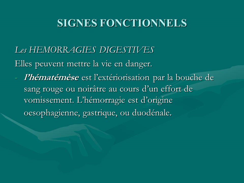 SIGNES FONCTIONNELS Les HEMORRAGIES DIGESTIVES