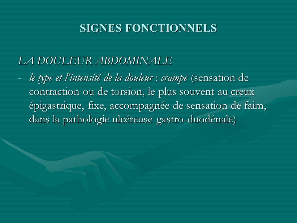 SIGNES FONCTIONNELS LA DOULEUR ABDOMINALE.
