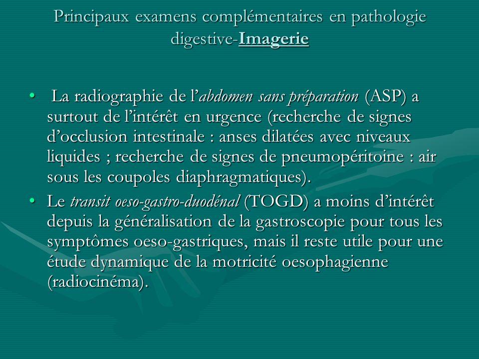 Principaux examens complémentaires en pathologie digestive-Imagerie