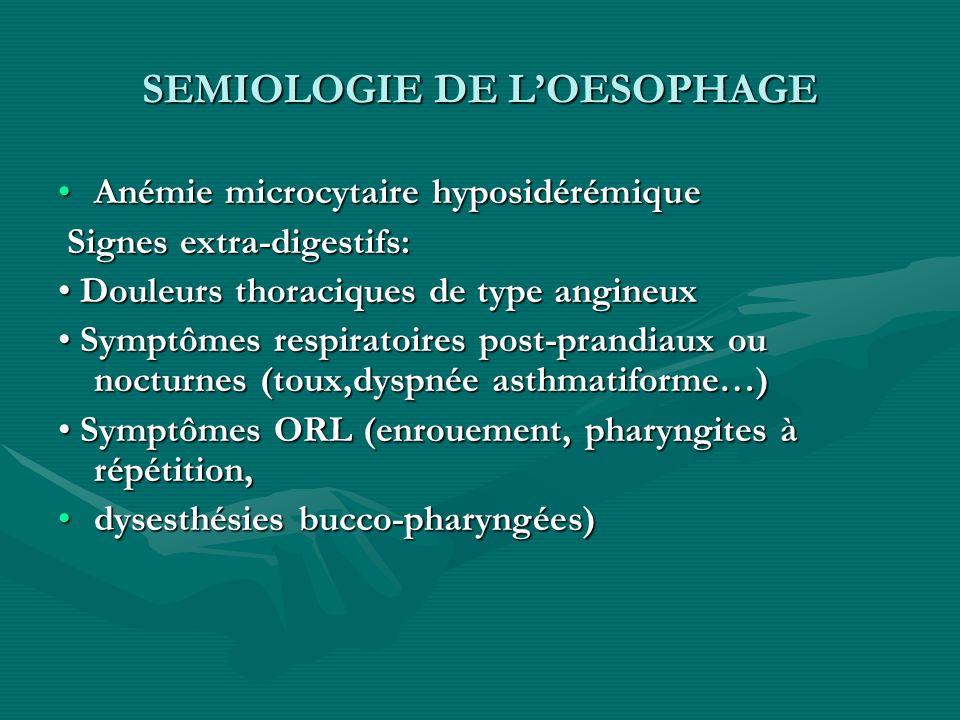 SEMIOLOGIE DE L'OESOPHAGE