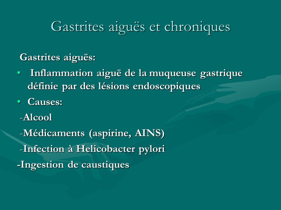 Gastrites aiguës et chroniques