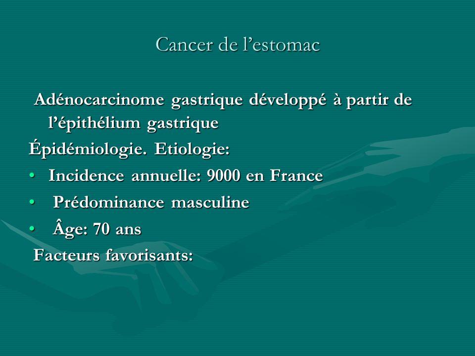 Adénocarcinome gastrique développé à partir de l'épithélium gastrique
