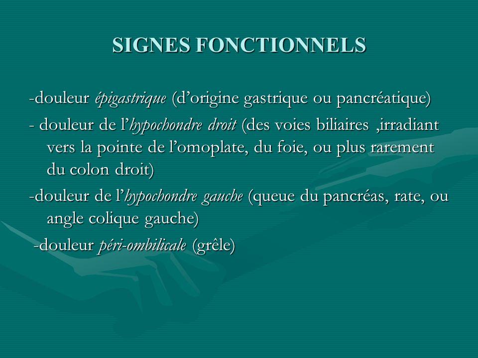 SIGNES FONCTIONNELS -douleur épigastrique (d'origine gastrique ou pancréatique)