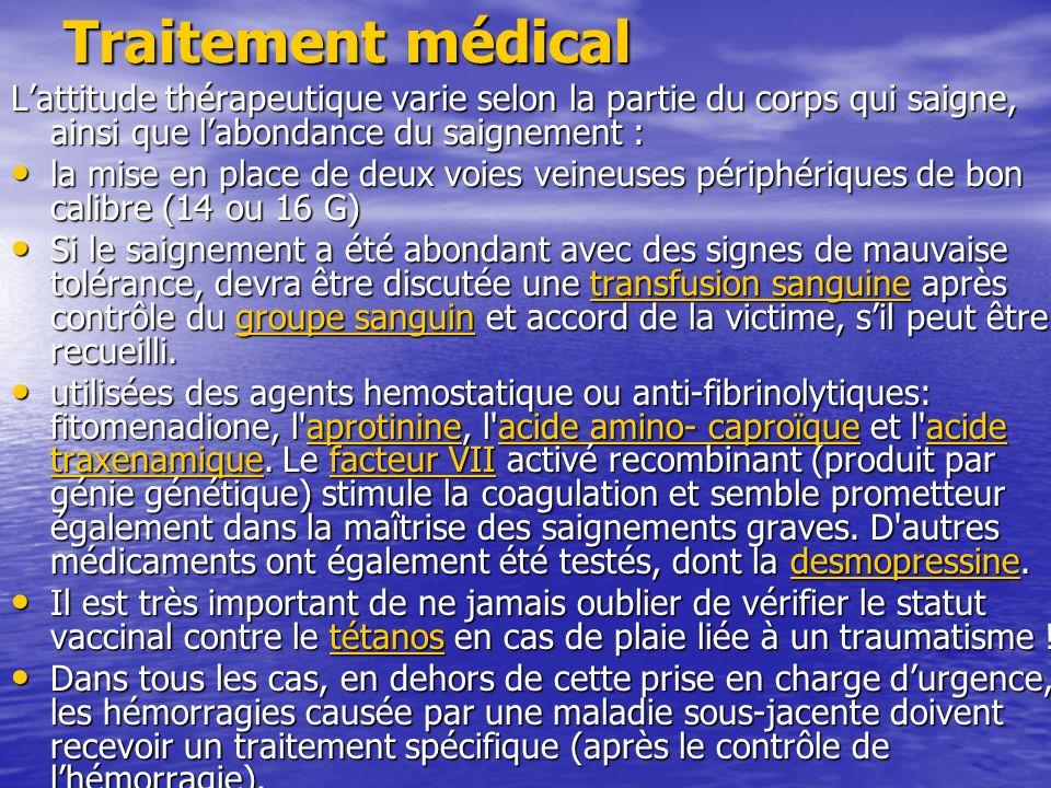Traitement médical L'attitude thérapeutique varie selon la partie du corps qui saigne, ainsi que l'abondance du saignement :
