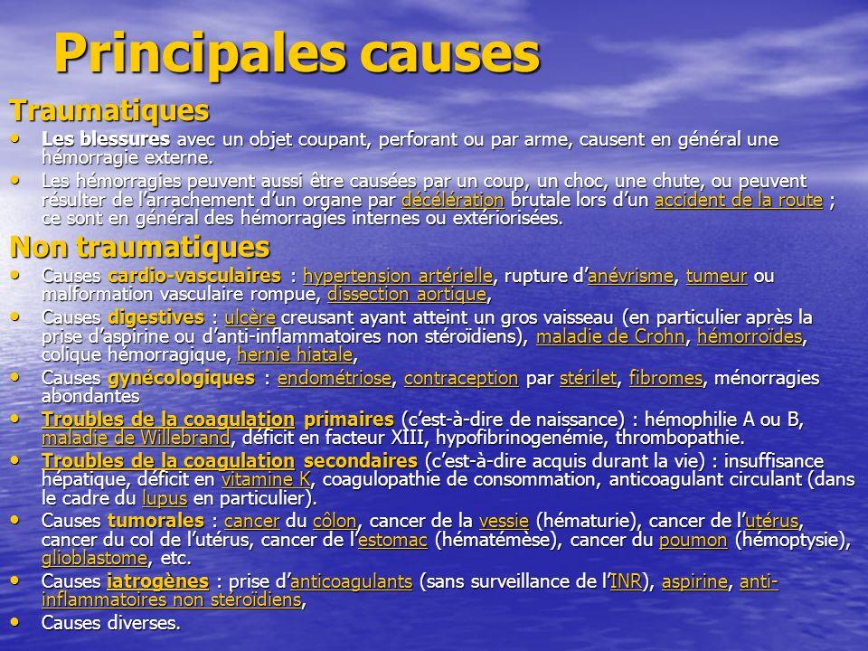 Principales causes Traumatiques Non traumatiques