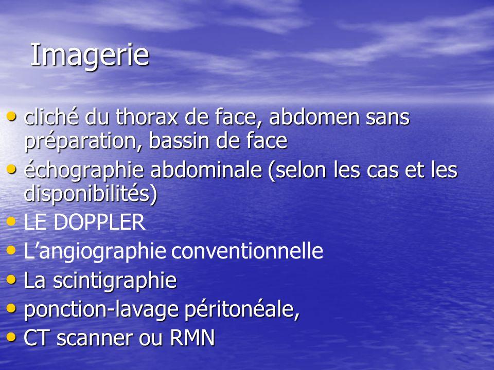 Imagerie cliché du thorax de face, abdomen sans préparation, bassin de face. échographie abdominale (selon les cas et les disponibilités)