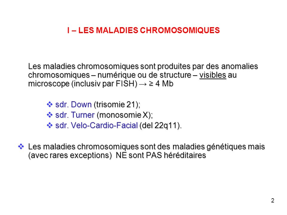 I – LES MALADIES CHROMOSOMIQUES