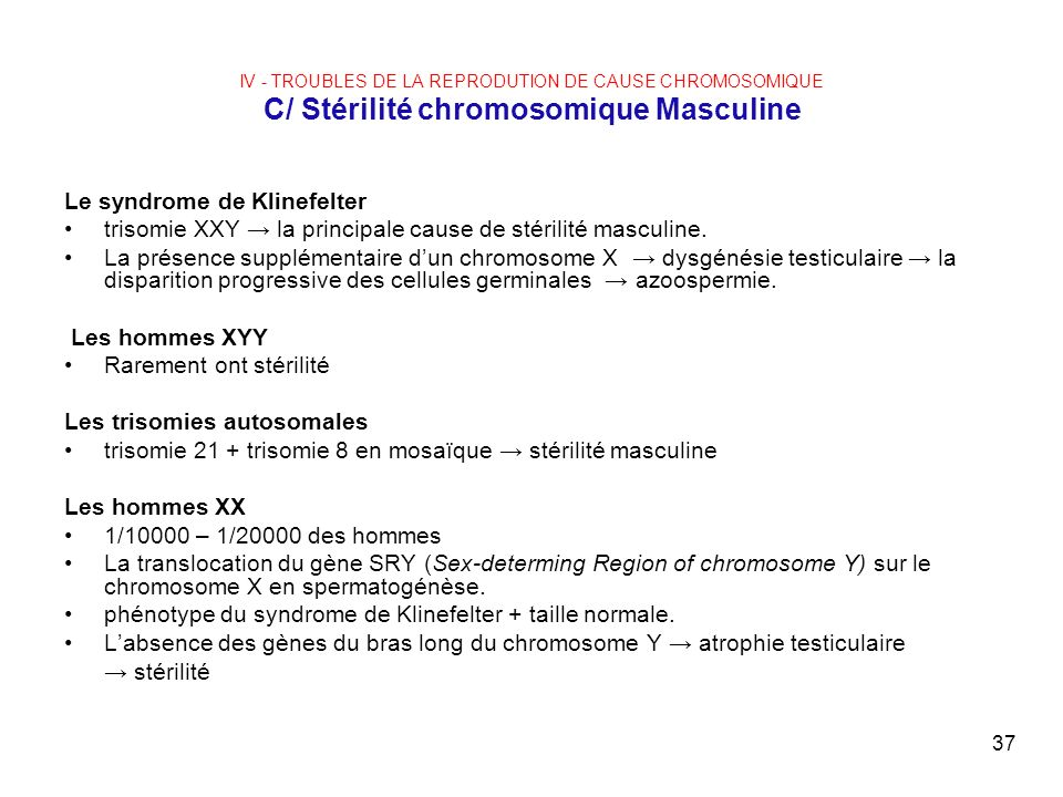 Le syndrome de Klinefelter