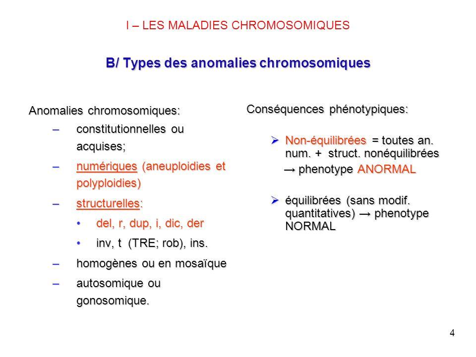 I – LES MALADIES CHROMOSOMIQUES B/ Types des anomalies chromosomiques