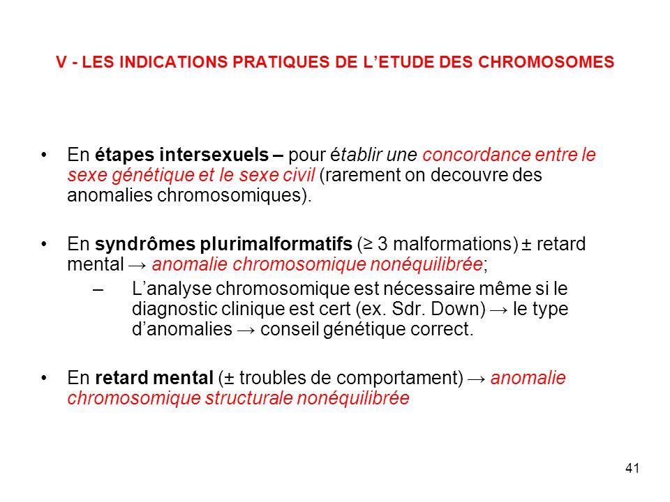 V - LES INDICATIONS PRATIQUES DE L'ETUDE DES CHROMOSOMES