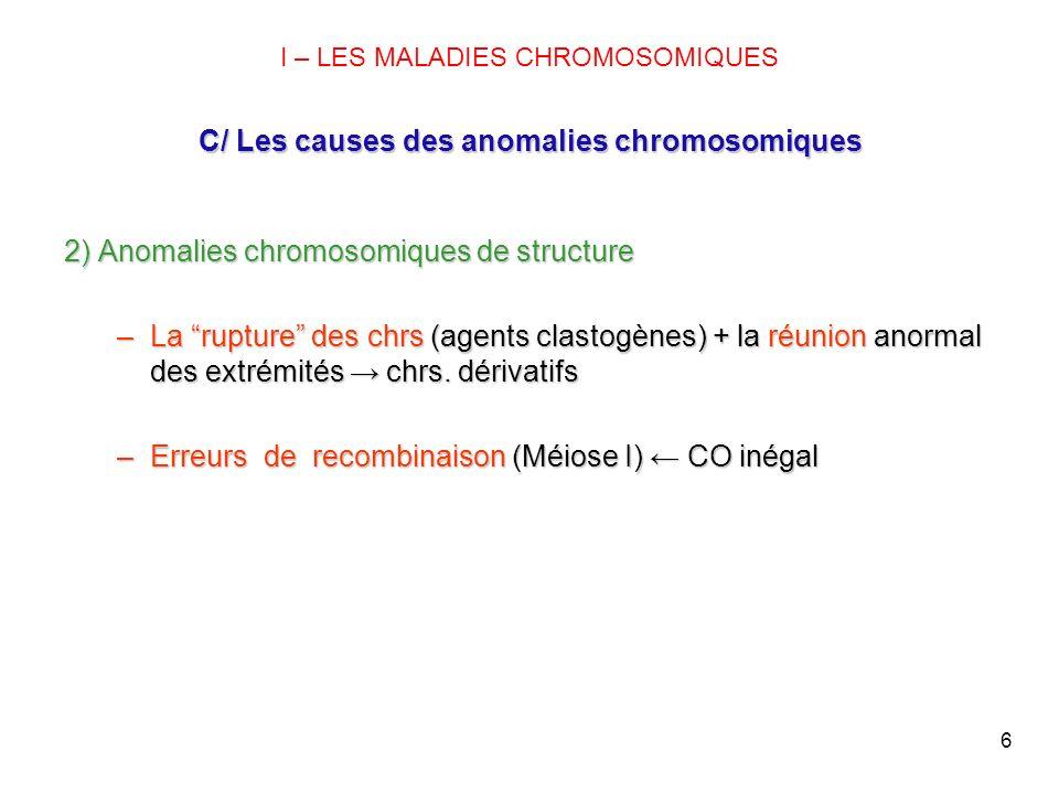 2) Anomalies chromosomiques de structure