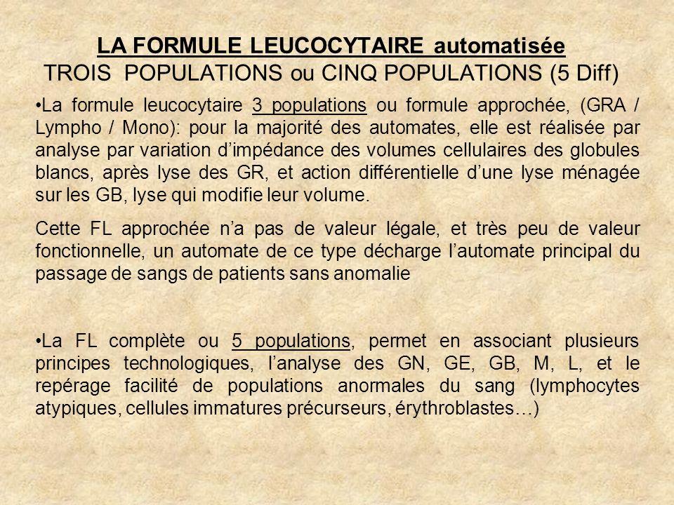 LA FORMULE LEUCOCYTAIRE automatisée TROIS POPULATIONS ou CINQ POPULATIONS (5 Diff)