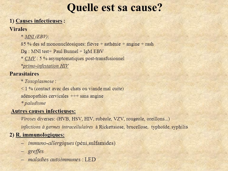 Quelle est sa cause 1) Causes infectieuses : Virales Parasitaires