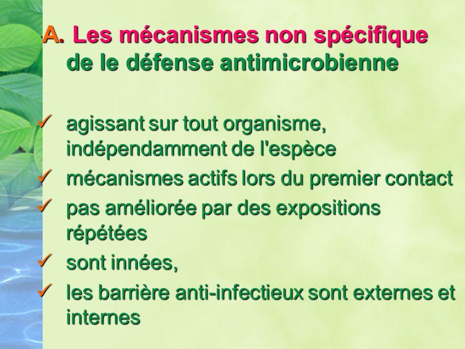 A. Les mécanismes non spécifique de le défense antimicrobienne