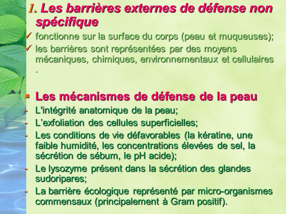 1. Les barrières externes de défense non spécifique