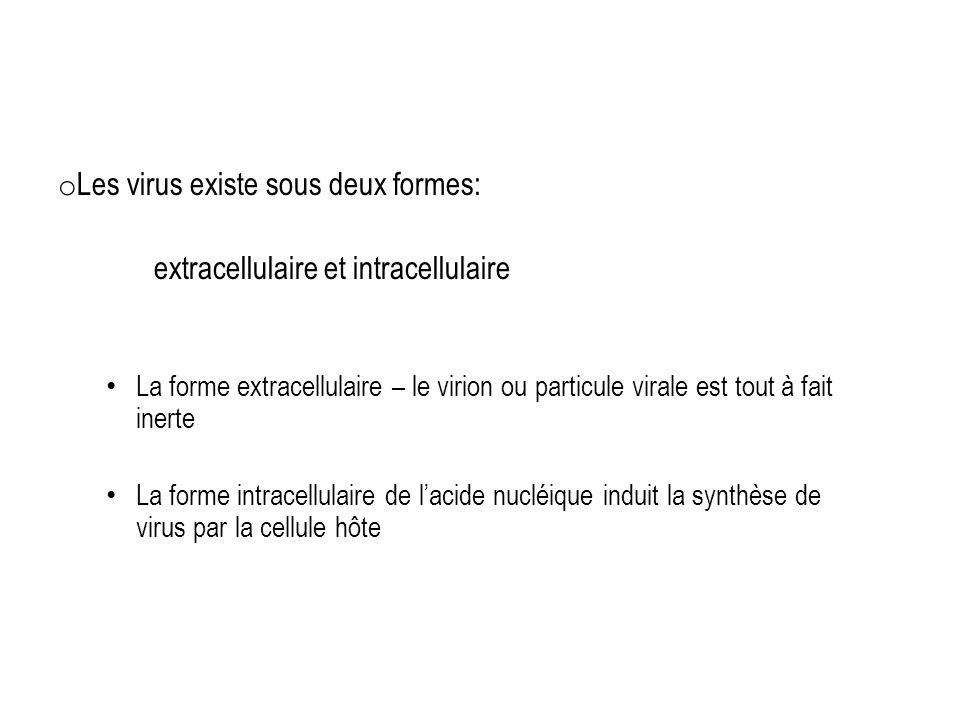Les virus existe sous deux formes: extracellulaire et intracellulaire