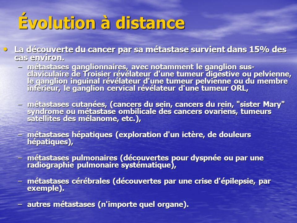 Évolution à distance La découverte du cancer par sa métastase survient dans 15% des cas environ.