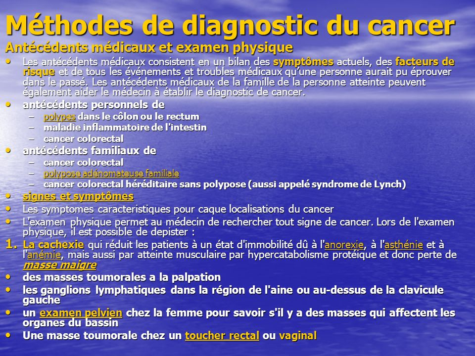 Méthodes de diagnostic du cancer