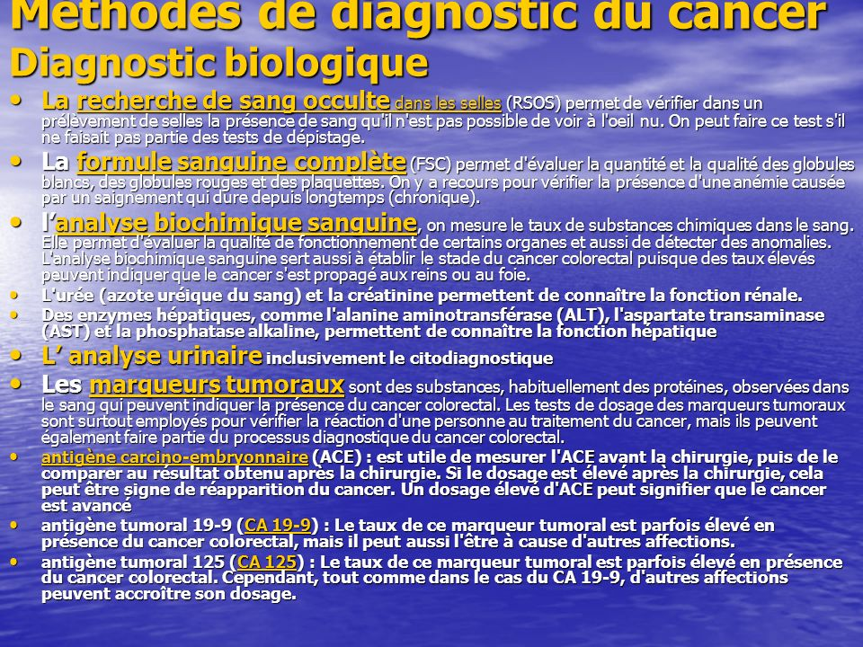 Méthodes de diagnostic du cancer Diagnostic biologique