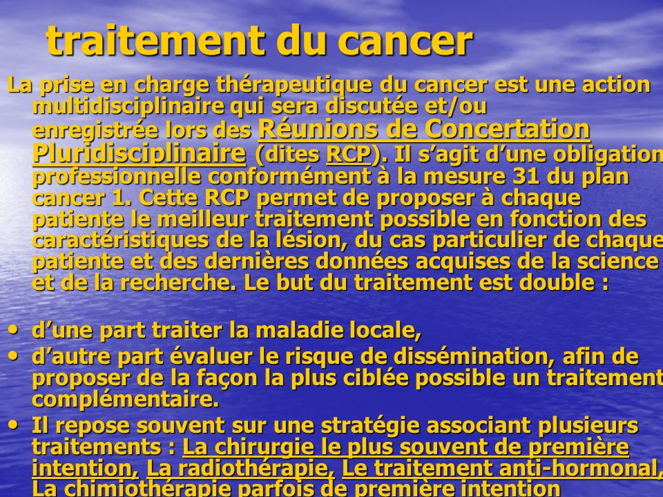 traitement du cancer