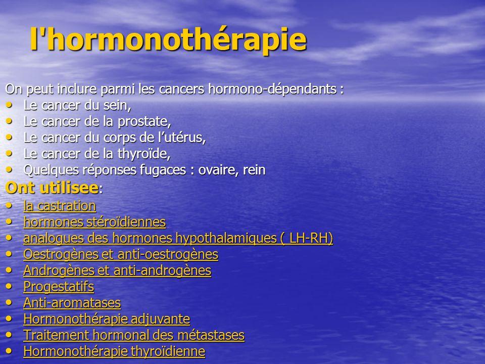l hormonothérapie Ont utilisee:
