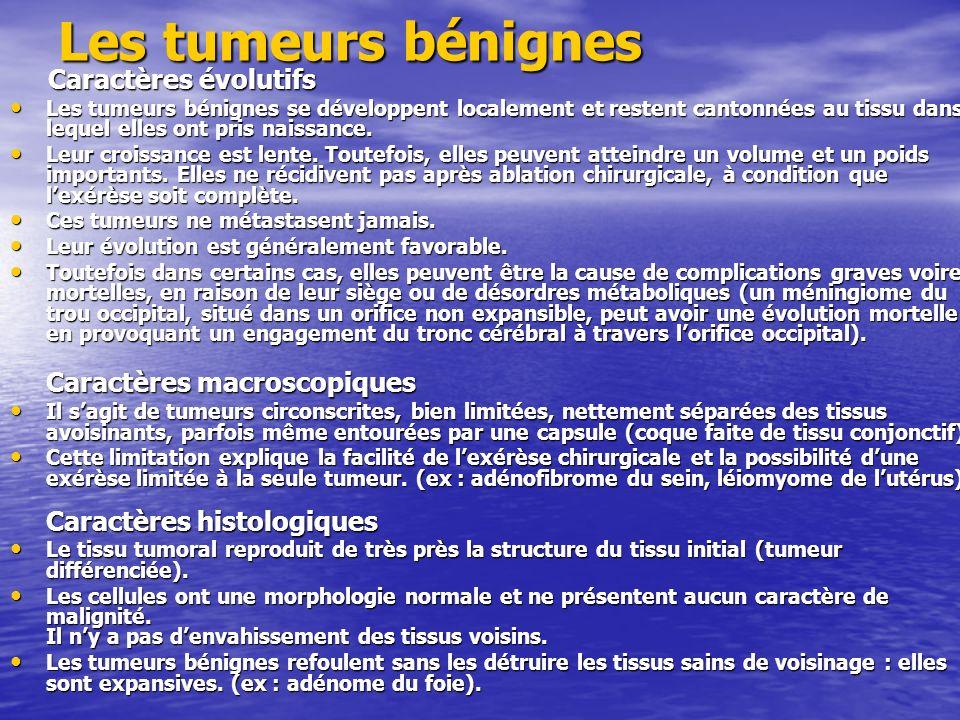 Les tumeurs bénignes Caractères évolutifs