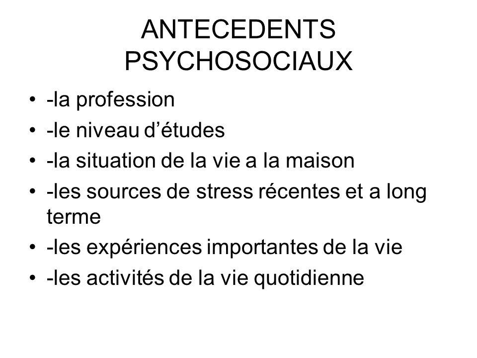 ANTECEDENTS PSYCHOSOCIAUX