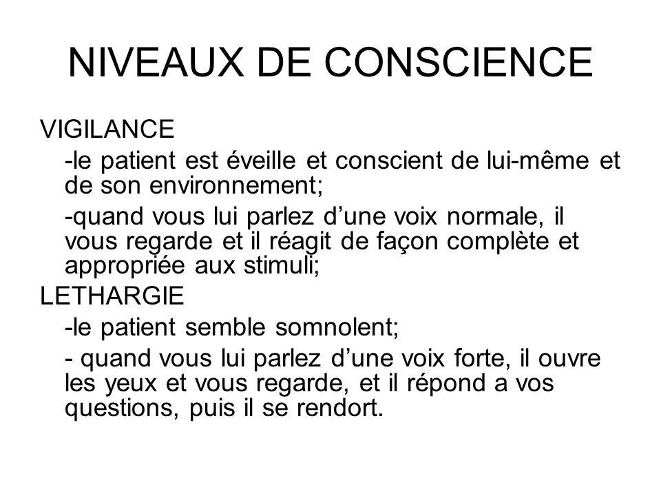 NIVEAUX DE CONSCIENCE VIGILANCE