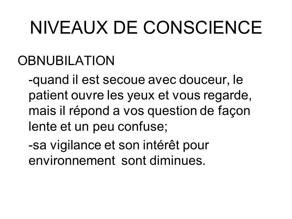 NIVEAUX DE CONSCIENCE OBNUBILATION