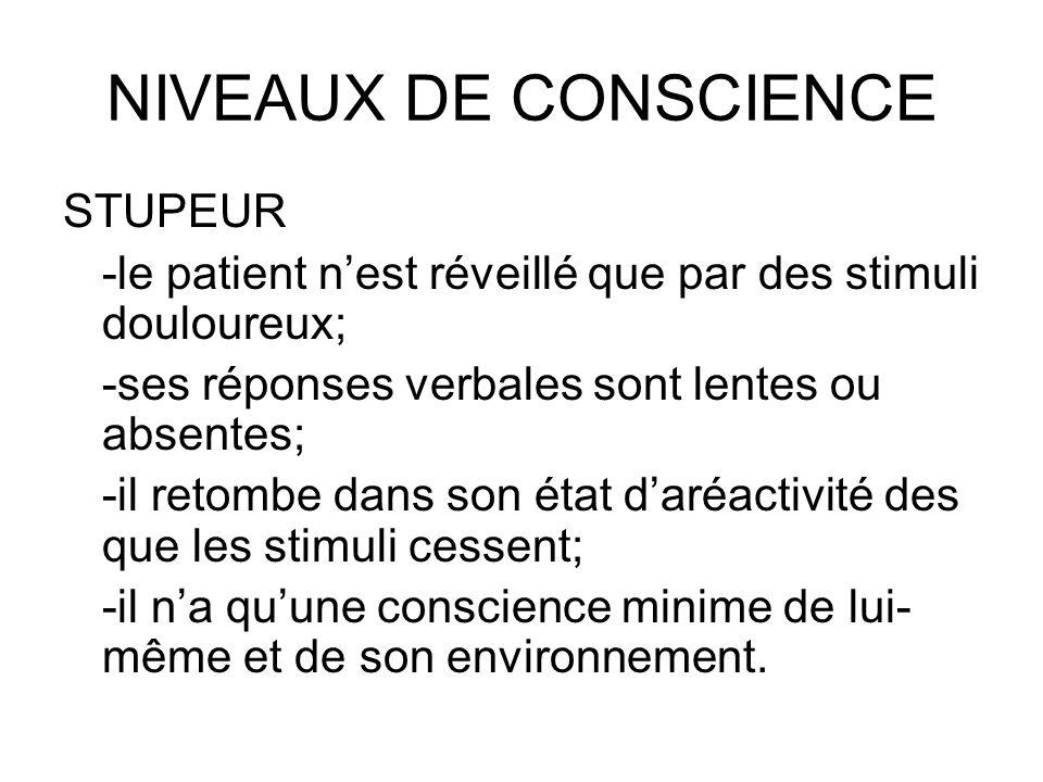 NIVEAUX DE CONSCIENCE STUPEUR