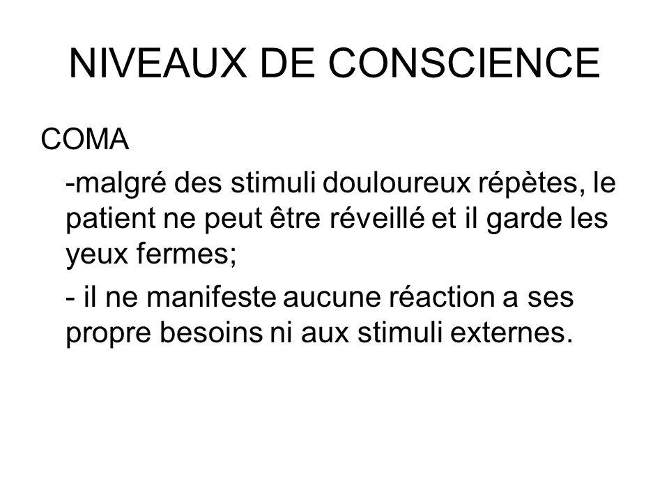 NIVEAUX DE CONSCIENCE COMA