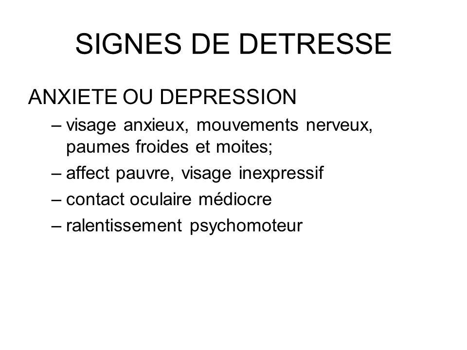 SIGNES DE DETRESSE ANXIETE OU DEPRESSION