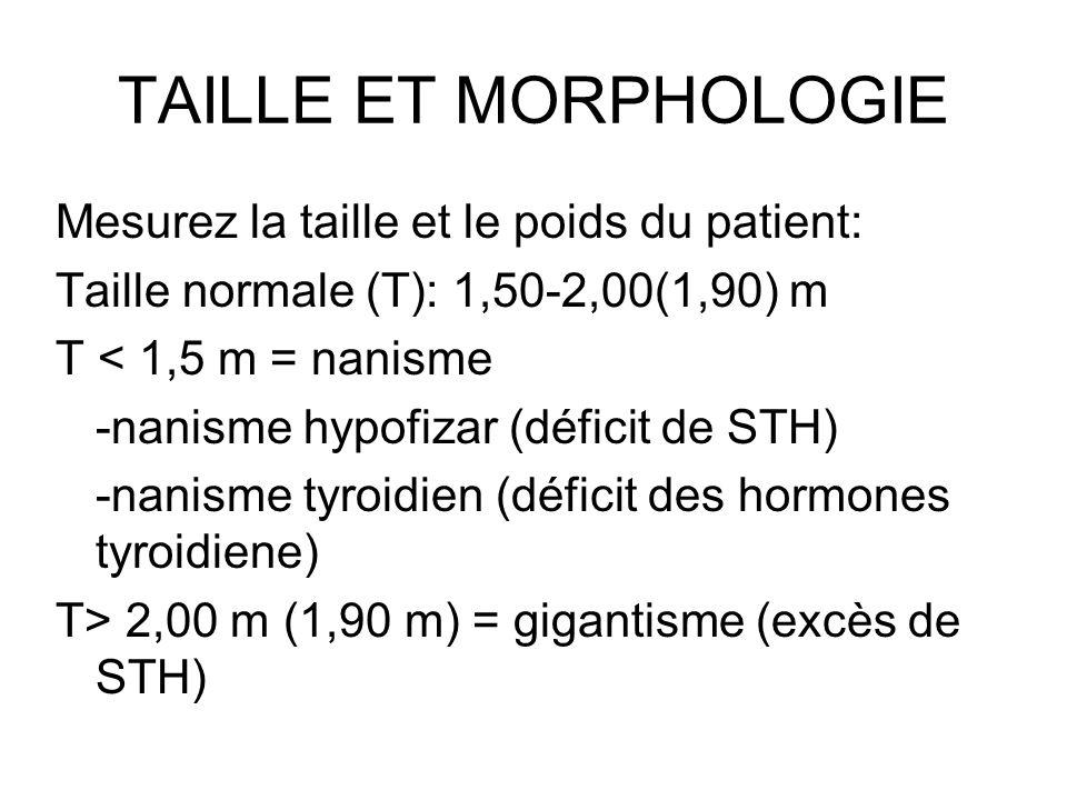 TAILLE ET MORPHOLOGIE Mesurez la taille et le poids du patient: