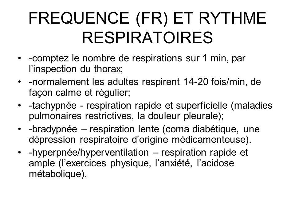 FREQUENCE (FR) ET RYTHME RESPIRATOIRES