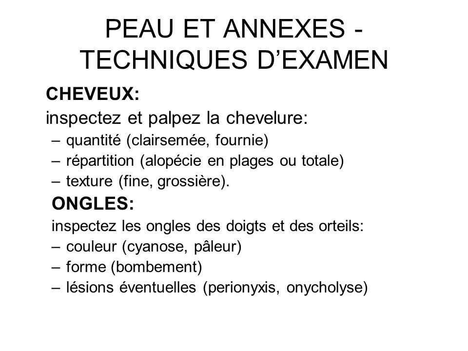 PEAU ET ANNEXES - TECHNIQUES D'EXAMEN