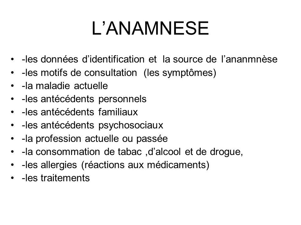 L'ANAMNESE -les données d'identification et la source de l'ananmnèse