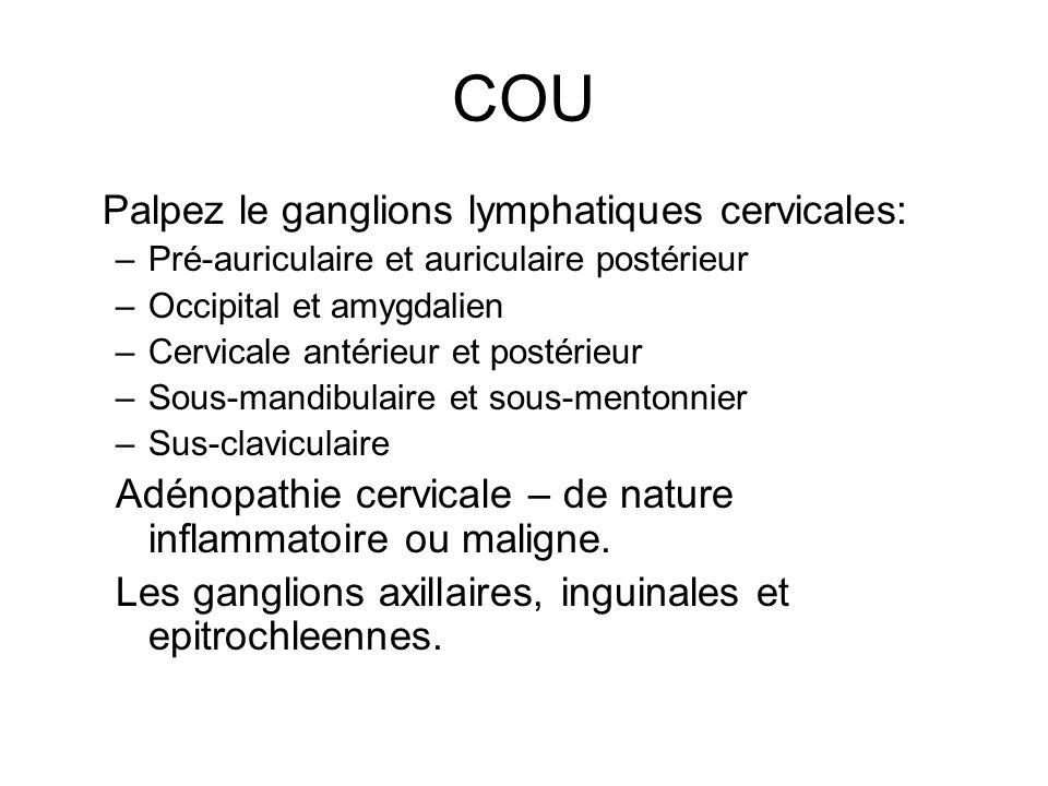 COU Palpez le ganglions lymphatiques cervicales: