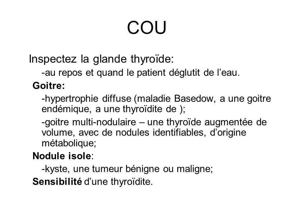 COU Inspectez la glande thyroïde: