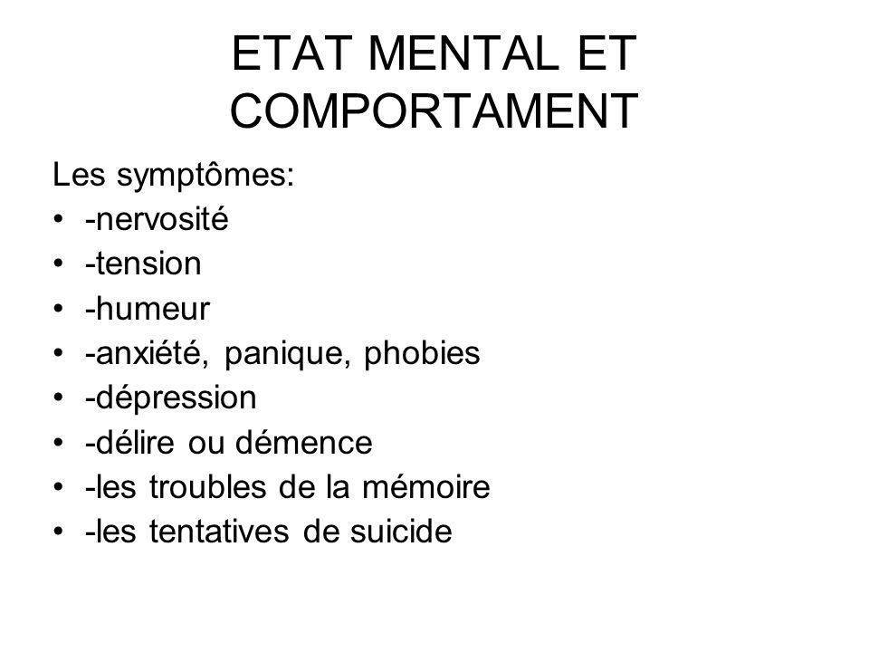 ETAT MENTAL ET COMPORTAMENT